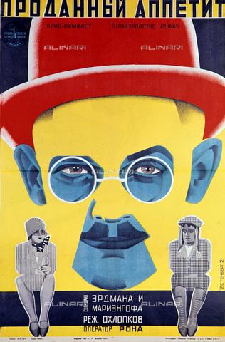 """RNA-F-435407-0000 - Riproduzione del poster per il film """"Sold Appetite"""" realizzato nel 1928 dagli artisti Vladimir e Georgij Stenberg - Pavel Balabanov / Sputnik/ Archivi Alinari"""