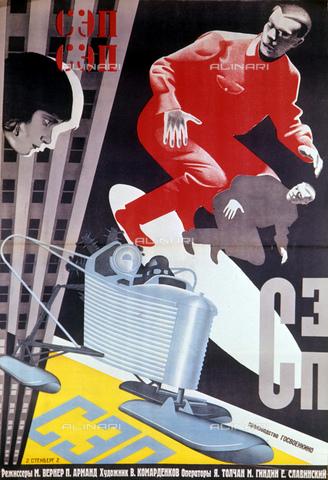 """RNA-F-435411-0000 - Riproduzione del poster per il film """"Collected Experimental Program"""" realizzato nel 1929 dagli artisti Vladimir e Georgij Stenberg - Pavel Balabanov / Sputnik/ Archivi Alinari"""