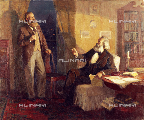 RNA-F-513143-0000 - Karl Marx and Frederick Engels, oil on canvas, reproduction of a painting by G. Gordon, Museum of Karl Marx and Frederick Engels, Moscow - Sputnik/ Alinari Archives