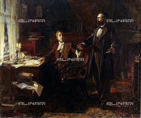 RNA-F-513144-0000 - Karl Marx and Frederick Engels working on the Communist Manifesto, oil on canvas, reproduction of a painting by V. Polyakov, Museum of Karl Marx and Frederick Engels, Moscow - Sputnik/ Alinari Archives