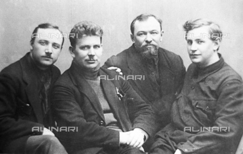 RNA-F-603917-0000 - Russian revolution: Boris Kubasov (left), leader of the October Socialist Revolution, Communist Party member since August 1917 and Chief of the five congresses of the Communist Party, and other active participants in the events of October in Kharkov: K. Kirkizh , I. Gvozdyov, D. Marchenko (from left to right) - Sputnik/ Alinari Archives