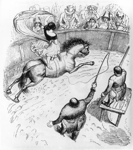 RVA-F-381812-0000 - Una cavallerizza all'Ippodromo, illustrazione del 'Le Diable à Paris', opera scritta nel 1845-1846 da G.Sand, Balzac, Ch.Nodier, L.Gozian e Hetzel - Data dello scatto: 1900 - 1920 - Roger-Viollet/Alinari