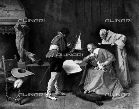 RVA-S-001312-0012 - Richelieu e padre Giuseppe, l'Eminenza grigia, oppure Richelieu studia i piani di attacco per l'assedio di La Rochelle, olio su tela, Louis Debras (1820-1899) - Roger-Viollet/Alinari