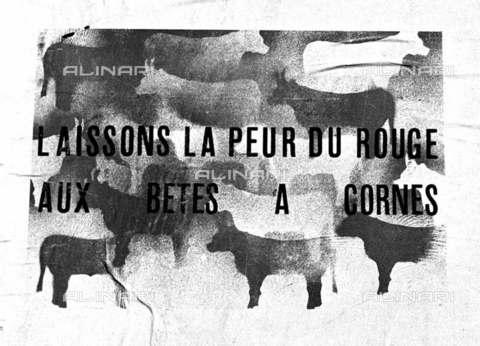 RVA-S-001871-0002 - Manifesto affisso su una parete dell'Ecole des Beaux-Arts durante il maggio francese, Parigi - Data dello scatto: 05/1968 - Roger-Viollet/Alinari