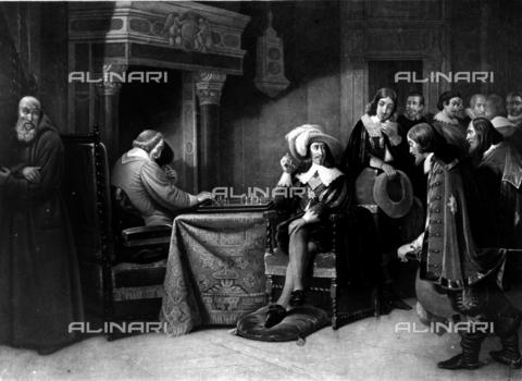RVA-S-002647-0006 - Luigi XIII (1601-1643), re di Francia e il cardinale Richelieu (1585-1642). A sinistra, padre Giuseppe (1577-1638), olio su tela del XIX sec. - Roger-Viollet/Alinari