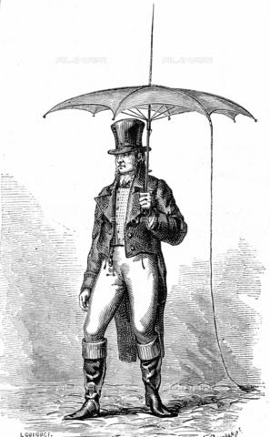RVA-S-009117-0011 - L'ombrello-parafulmini. Invenzione di Benjamin Franklin, filosofo, fisico e statista americano. 1778. Incisione di Deschamps e L. Guiguet - Jacques Boyer / Roger-Viollet/Alinari