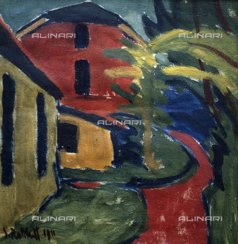 "RVA-S-017629-0002 - ""The Red wall"", dipinto, Karl Schmidt-Rottluff (1884-1976), Brüke Museum, Berlino - Roger-Viollet/Alinari"