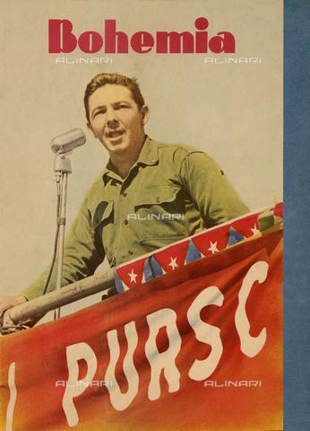 RVA-S-021715-0014 - Raul Castro (nato nel 1931), uomo politico cubano, durante un discorso. Cuba, anni '60. Copertina della rivista Bohemia - Data dello scatto: anni '60 - Gilberto Ante / Roger-Viollet/Alinari