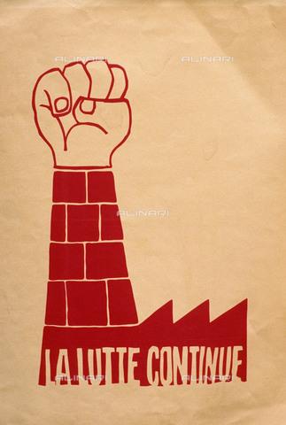 """RVA-S-033907-0001 - Manifesto con l'iscrizione """"La lutte continue"""" del maggio francese - Jean-Pierre Couderc / Roger-Viollet/Alinari"""