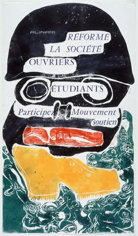 """RVA-S-034329-0012 - Manifesto con l'iscrizione """"Réforme la Société, ouvriers, étudiants, participez au mouvement"""" del maggio francese; Musée Carnavalet, Parigi - Musée Carnavalet / Roger-Viollet/Alinari"""