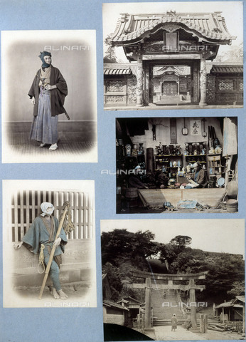 RVA-S-034994-0002 - Panel framed with five old photographs from Japan. Photograph by Felice Beato (1825-1908), around 1868-1870. Paris, musée Cernuschi. - Roger-Viollet/Alinari