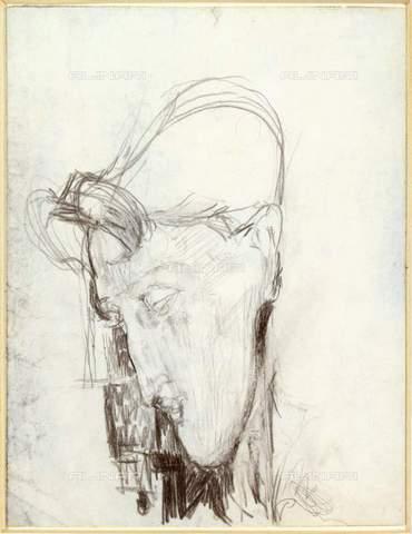 RVA-S-035657-0001 - Ritratto del pittore cubista Frank Burty-Haviland, matita su carta, Amedeo Modigliani (1884-1920), Musée d'Art Moderne, Parigi - Musée d'Art Moderne / Roger-Viollet/Alinari