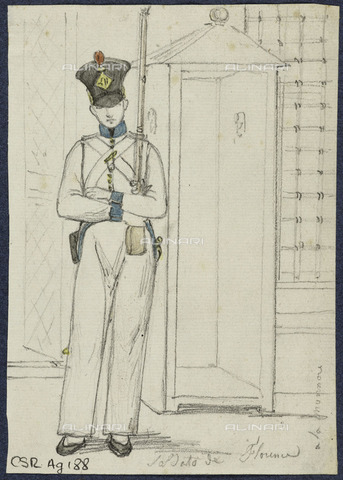 RVA-S-083024-0029 - Soldato di Firenze, matita di grafite e acquerello, René Marjolin (1812-1895), Musée de la Vie romantique, Parigi - Roger-Viollet/Alinari