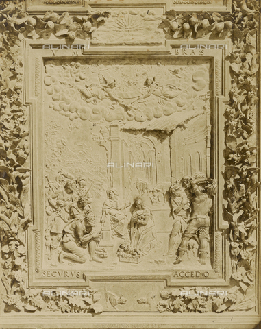 SCC-A-000007-0014 - Adoration of the Shepherds, detail of the bronze door to the left of the Duomo of Pisa - Data dello scatto: 1855 ca. - Archivi Alinari, Firenze