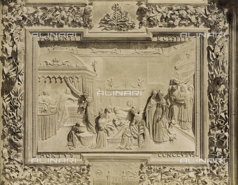 SCC-A-000007-0016 - Cathedral of Pisa: Detail of the bronze main door depicting the Birth of the Virgin - Data dello scatto: 1855 ca. - Archivi Alinari, Firenze
