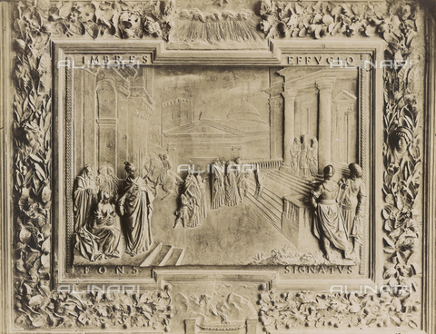 SCC-A-000007-0017 - Presentation of the Virgin in the Temple, detail of central bronze door of the Duomo of Pisa - Data dello scatto: 1855 ca. - Archivi Alinari, Firenze