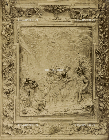 SCC-A-000007-0020 - Judas' betrayal, artwork from the school of Giambologna, panel from the bronze door on the right of the Duomo of Pisa - Data dello scatto: 1855 ca. - Archivi Alinari, Firenze