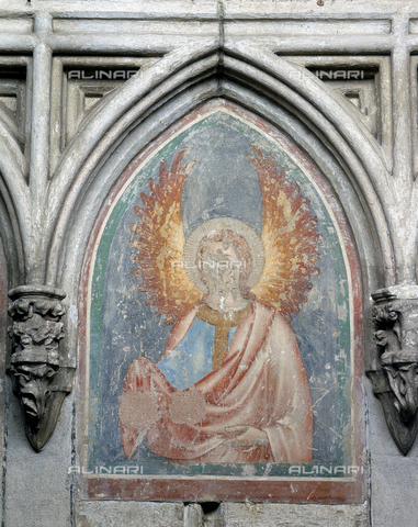 SEA-F-000119-0000 - Wall painting of an angel in the Cathedral of Saint-Nazaire in Beziers - Date of photography: 1996 - Seat Archive/Alinari Archives