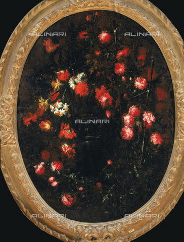 """SEA-F-000254-0000 - Riccardo Spinelli, """"Flower garland with birds"""", formerly in the Vasarian Corridor, Florence. Now in the Museum of Still Life (Natura Morta), deposits. - Date of photography: 1996 - Seat Archive/Alinari Archives, Reproduced with the permission of Ministero per i Beni e le Attività Culturali"""