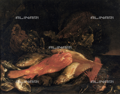 SEA-F-000257-0000 - 'Fish and oysters', painting by Carlo Dolci, formerly in the Uffizi Gallery in Florence. Now in the Museum of Still Life (Natura Morta), deposits. - Date of photography: 1996 - Seat Archive/Alinari Archives, Reproduced with the permission of Ministero per i Beni e le Attività Culturali