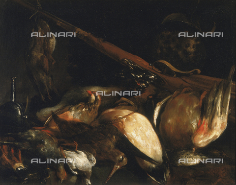 SEA-F-000258-0000 - 'Dead birds and arquebus', painting by Crespi, formerly in the Uffizi Gallery in Florence. Now in the Museum of Still Life (Natura Morta), deposits. - Date of photography: 1996 - Seat Archive/Alinari Archives, Reproduced with the permission of Ministero per i Beni e le Attività Culturali