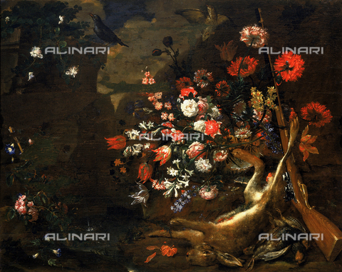 SEA-F-000262-0000 - 'Still life with flowers and game', painting by Bartolomeo Bimbi, formerly in the Accademia dei Georgofili, in Florence. Now in the Museum of Still Life (Natura Morta), deposits. - Date of photography: 1996 - Seat Archive/Alinari Archives, Reproduced with the permission of Ministero per i Beni e le Attività Culturali