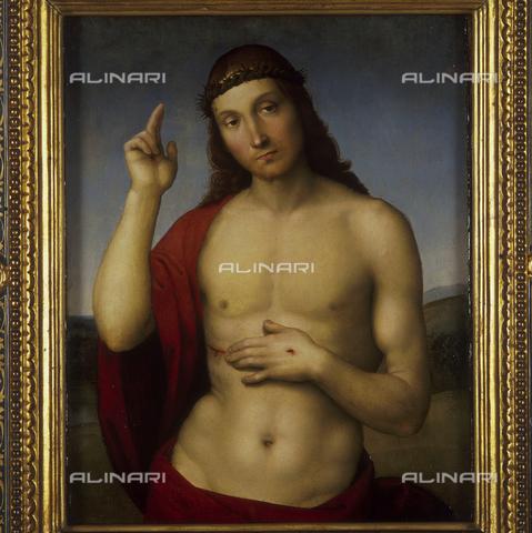 SEA-S-BS1984-0002 - The redeemer (Christ Blessing), oilo on wood, Raffaello Sanzio (1483-1520), Tosio-Martinengo Picture Gallery, Brescia - Date of photography: 1984 - Seat Archive/Alinari Archives