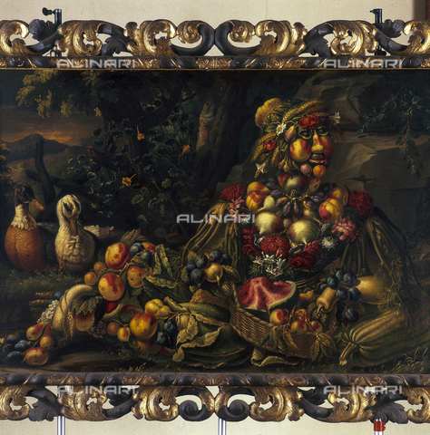 SEA-S-BS1984-0008 - Summer (still life with fruit, vegetables and flowers), oil on canvas, the manner of Giuseppe Arcimboldi, Tosio-Martinengo Picture Gallery, Brescia - Date of photography: 1984 - Seat Archive/Alinari Archives