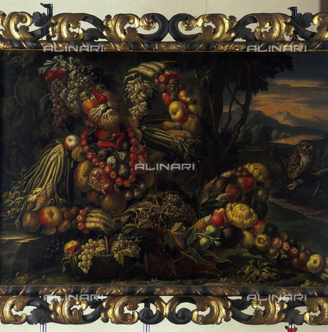SEA-S-BS1984-0009 - Autumn (still life with fruit, vegetables and flowers), oil on canvas, the manner of Giuseppe Arcimboldi, Tosio-Martinengo Picture Gallery, Brescia - Date of photography: 1984 - Seat Archive/Alinari Archives