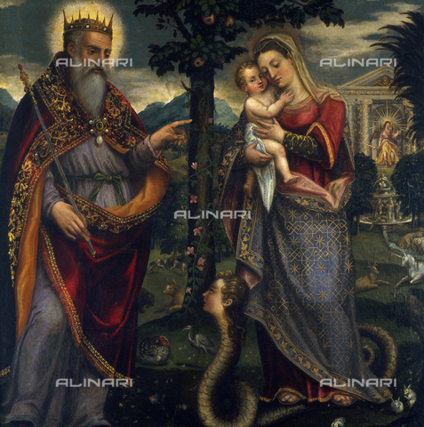 SEA-S-BS1984-0012 - Immaculate Conception, oil on canvas, Mombello Luca (1520-1596), Tosio-Martinengo Picture Gallery, Brescia - Date of photography: 1984 - Seat Archive/Alinari Archives