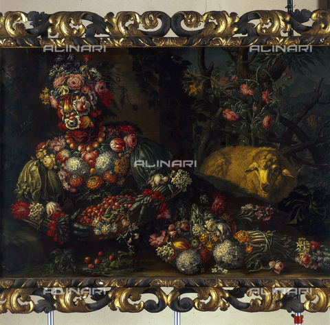 SEA-S-BS1984-0014 - Spring (still life with fruit, vegetables and flowers), oil on canvas, the manner of Giuseppe Arcimboldi, Tosio-Martinengo Picture Gallery, Brescia - Date of photography: 1984 - Seat Archive/Alinari Archives