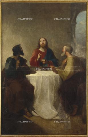 SEA-S-CA2001-0003 - Cena in Emmaus, olio su tela, Giovanni Marghinotti (1798-1865), Museo del Tesoro di Sant'Eulalia, Cagliari - Data dello scatto: 2001-2002 - Archivi Alinari, Firenze