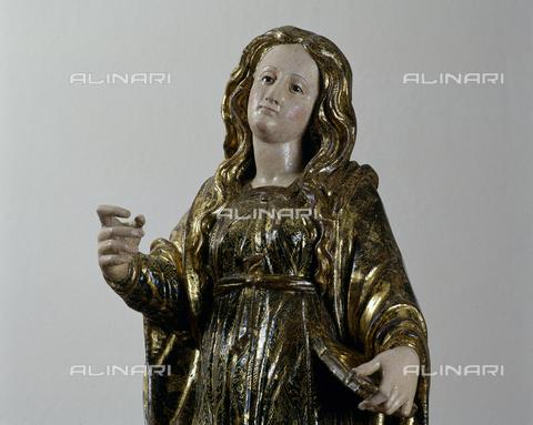 SEA-S-CA2001-0006 - Santa Lucia, particolare, legno, scuola sarda, Museo del Tesoro di Sant'Eulalia, Cagliari - Data dello scatto: 2001-2002 - Archivi Alinari, Firenze