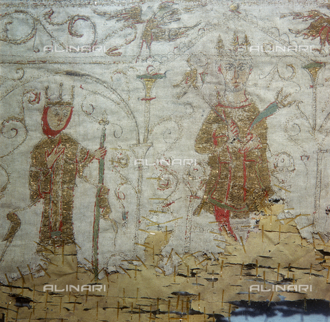 SEA-S-M11984-0007 - Detail of a damask silk cloth with figures of hunters and beasts amongst the trees.  Levantine work from the IV century a.d., kept in the Museo di Sant'Ambrogio in Milan - Date of photography: 1984 - Seat Archive/Alinari Archives