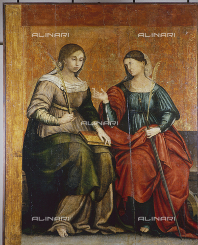 "SEA-S-OR2000-0011 - Saint Catherine of Alexandria and Santa Apollonia, detached panel of the polyptych of the Stigmata of St. Francis, tempera on wood, Pietro Cavaro (around 1508-1537), Archaeological Museum of Archeology and Art History ""Antiquarium Arborense"", Oristano - Data dello scatto: 2000 - Archivi Alinari, Firenze"