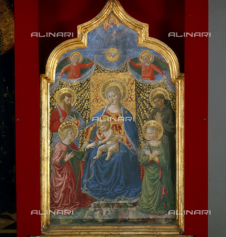 SEA-S-PG1983-0001 - Mystic Marriage of Saint Catherine with St. Bartholomew, St. Francis of Assisi and St. Lucia, tempera on panel, Benozzo Gozzoli (1421-1497), Municipal Art Gallery, Terni - Date of photography: 1983 - Seat Archive/Alinari Archives