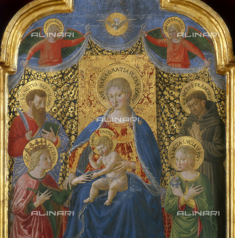 SEA-S-PG1983-0002 - Mystic Marriage of Saint Catherine with St. Bartholomew, St. Francis of Assisi and St. Lucia, tempera on panel, detail, Benozzo Gozzoli (1421-1497), Municipal Art Gallery, Terni - Date of photography: 1983 - Seat Archive/Alinari Archives