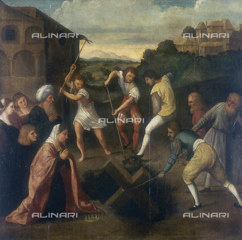 SEA-S-PN1983-0001 - The rediscovery of the Cross, painting by Pordenon kept in the Museo Civico d'Arte in Palazzo Ricchieri in Pordenone - Date of photography: 1983 - Seat Archive/Alinari Archives