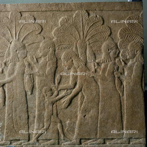 SEA-S-R11981-0007 - Assirian relief depicting five woman imprisoned in a palm grove, period of Sennacharib 744-681 B.C., Barracco Museum - Date of photography: 1981 - Seat Archive/Alinari Archives