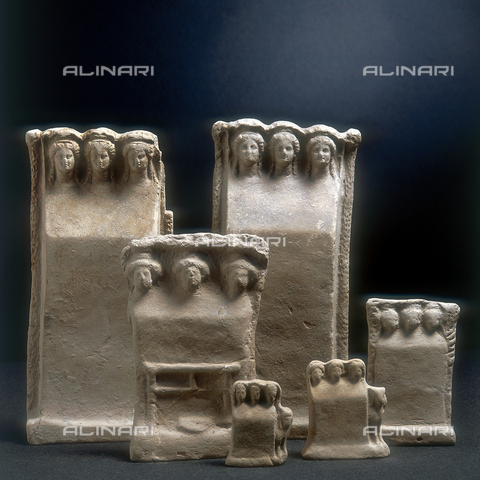 SEA-S-RC1984-0009 - Group of clay tablets with figures of three nymphs from the IV century b.c. , National Museum of Reggio Calabria - Date of photography: 1984 - Seat Archive/Alinari Archives, Reproduced with the permission of Ministero per i Beni e le Attività Culturali