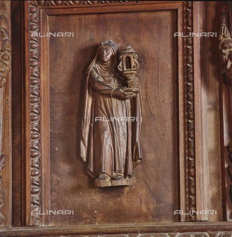 SEA-S-RI1994-0020 - Particolare del pulpito ligneo all'interno della chiesa di San Francesco ad Amatrice - Data dello scatto: 1994 - Archivi Alinari, Firenze