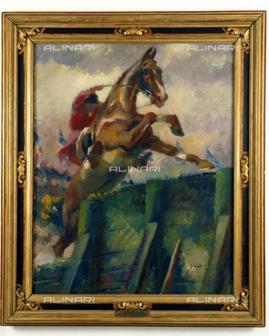 SEA-S-TS1997-0017 - Concorso Ippico. Opera pittorica di Gino de Finetti conservata presso il Museo Civico Revoltella di Trieste - Data dello scatto: 1997 - Archivi Alinari, Firenze