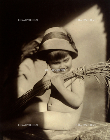 "TCA-F-00249V-0000 - ""Summer"": portrait of a little boy with spears of  wheat"