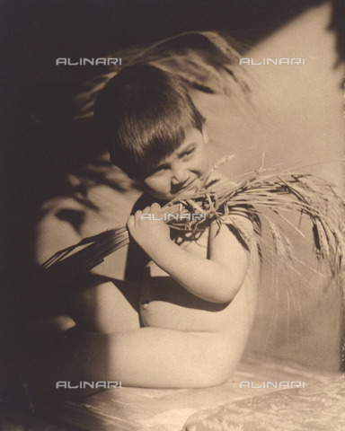 "TCA-F-00250V-0000 - Summer"": portrait of a child with some ears of wheat"