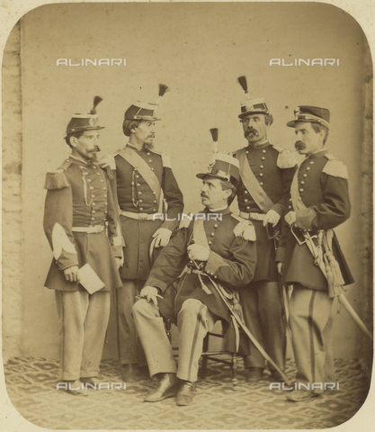 TCA-F-01407V-0000 - Portrait of a group of soldiers in high uniform - Data dello scatto: 1880 - Archivi Alinari, Firenze