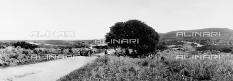 TCZ-F-005614-0000 - Meal on the grass in the shade of a great malosma tree, along the eastern shore road of Sardinia, with the car stopped on the edge of the road - Data dello scatto: 1925 ca. - Touring Club Italiano/Alinari Archives Management