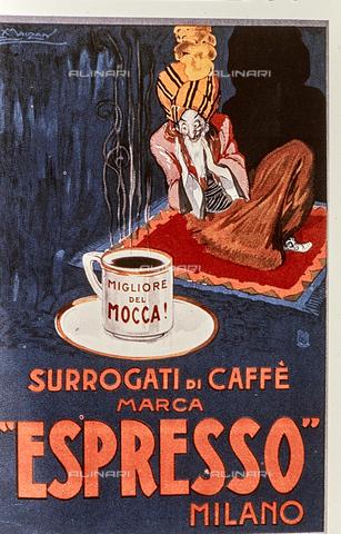 """TEA-S-380301-B003 - """"Migliore del Mocca! Surrogati di caffè marca Espresso - Milano"""" , commercial poster of Achille Lucien Mauzan (1883-1952) - Date of photography: 1970-1980 ca. - Alinari Archive-Team archive, Florence"""