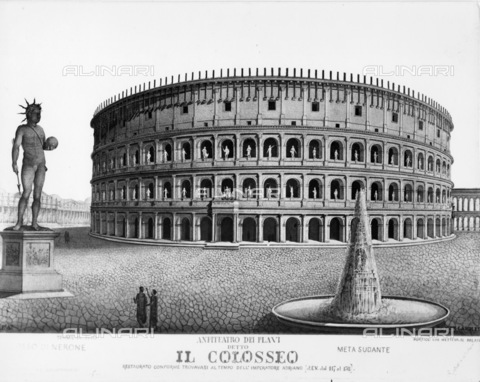 TEM-F-000001-0000 - Reconstruction drawing of the Colosseum as it was at the time of Emperor Hadrian - Alinari Archives, Florence