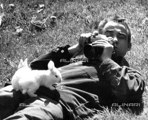 TOP-F-108279-0000 - Uomo sdraiato sull'erba mentre fotografa due conigli appoggiati su di lui. Generale, Uomo che fotografa conigli - 2005 / TopFoto / Archivi Alinari