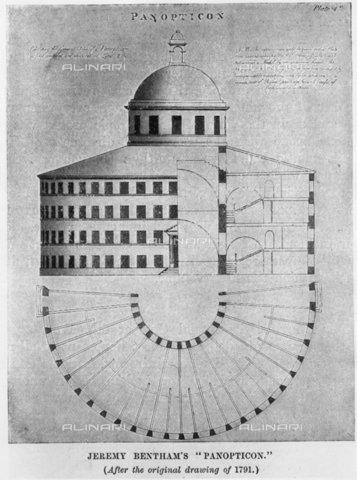 """TOP-F-256790-0000 - """"Panopticon"""" di Jeremy Bentham (dal disegno originale del 1791), incisione - 2002 / TopFoto / Archivi Alinari"""
